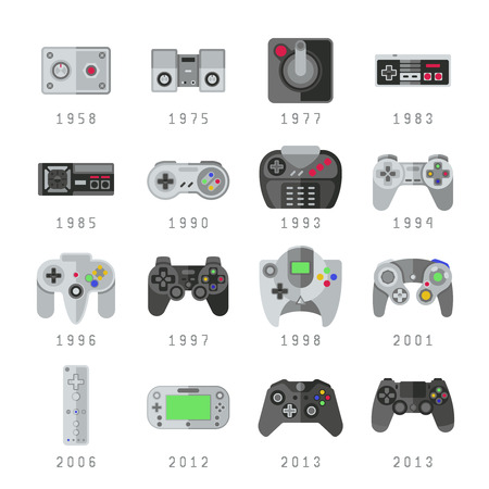 Video game controls, joystick, gamepads gaming vector icons. Control console for video game, set of controller gaming illustration