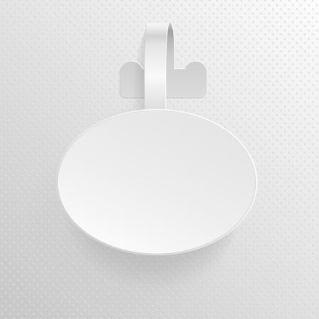 Isolated empty white advertising plastic oval shelf wobbler vector illustration. Paper wobbler tag for price, empty wobbler for advertising in shop Illustration