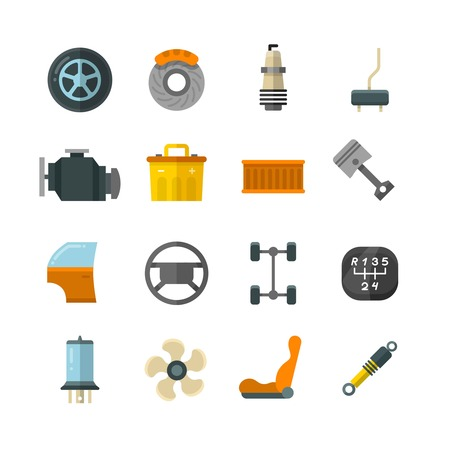 mechanical radiator: Vehicle auto technology, car parts flat vector icons. Wheel and battery for car, illustration of cars filter and brake