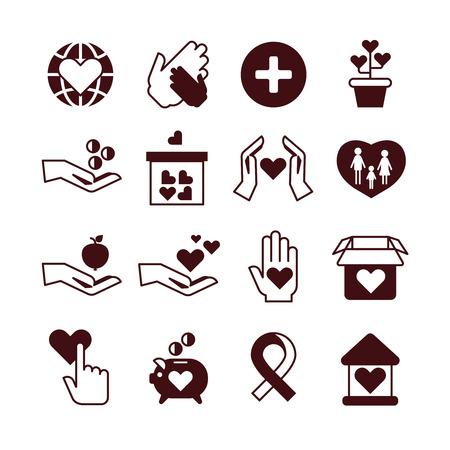 nonprofit: Charity hands, care and protection, fundraising service, donation, nonprofit organization, affection vector icons. Donate money and humanitarian, love and support donate illustration