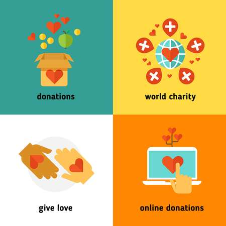 non profit: Charity and donation, social help services, volunteer work, non profit organization flat vector concepts. Online donations and world charity, giving donation in box illustration