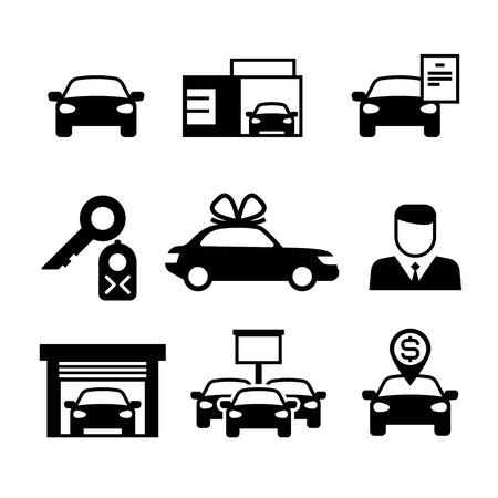 Auto dealer, auto-industrie, auto verkopen, kopen en huren van vector iconen. Illustratie van de verkoop van de pictogramauto