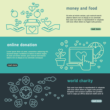 nonprofit: Charity, family help, donate life, nonprofit organization, humanitarian vector banners set. Donation money and food, charity and online donation illustration