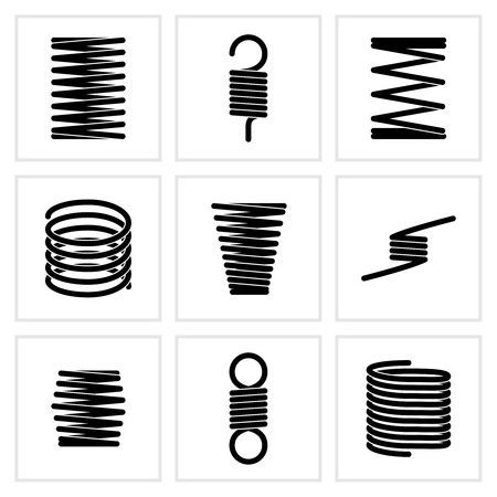 flexible: Steel wire flexible spiral coils spring vector icons. Flexible spring of set, illustration of black silhouette steel spring