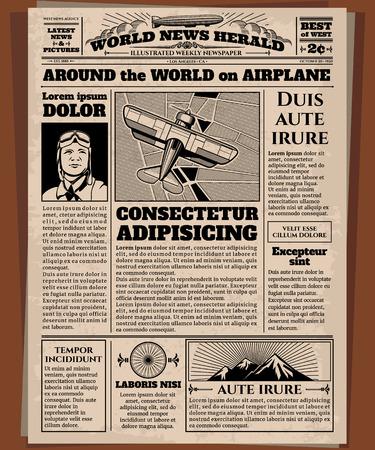 Antiguo periódico, plantilla de vector de periódico de cosecha. Periódico retro con noticias del mundo, ilustración de papel de periódico de la página