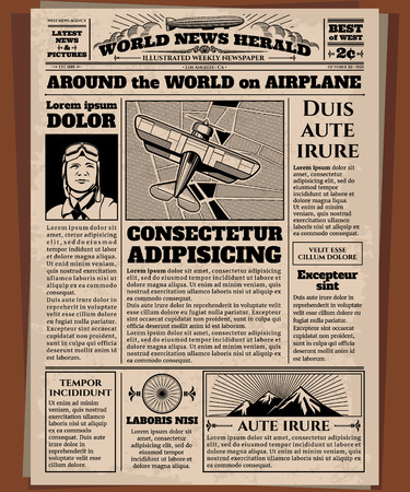 Old newspaper, vintage newsprint vector template. Retro newspaper with world news, illustration of page newsprint
