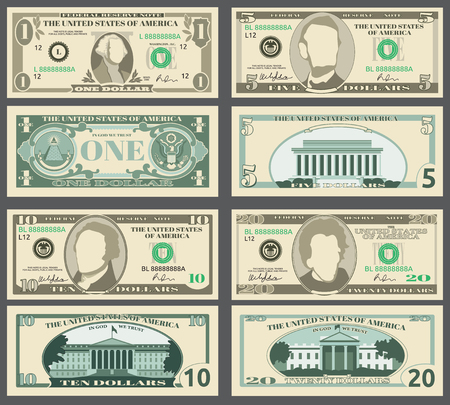 Dollar banknotes, us currency money bills vector set. Templates of banknotes, illustration of american banknotes pattern Vettoriali