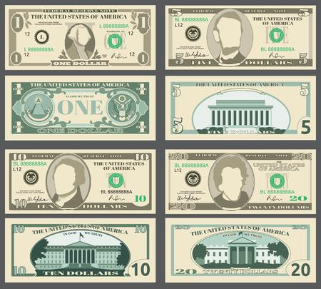 Dollarbanknoten, US-Währungsgeldrechnungs-Vektorsatz. Vorlagen von Banknoten, Abbildung des amerikanischen Banknotenmusters