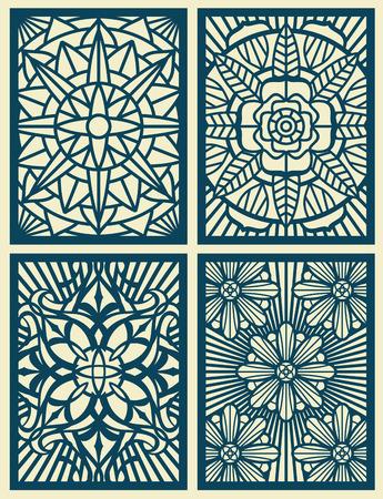 corte por láser tarjetas de patrón de vectores calados, paneles. Patrón de tallado en madera. Ilustración del modelo de flor