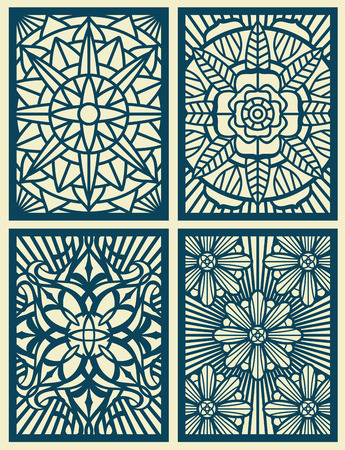 wood cuts: Laser cut fretwork vector pattern cards, panels. Pattern carved from wood. Illustration of flower pattern