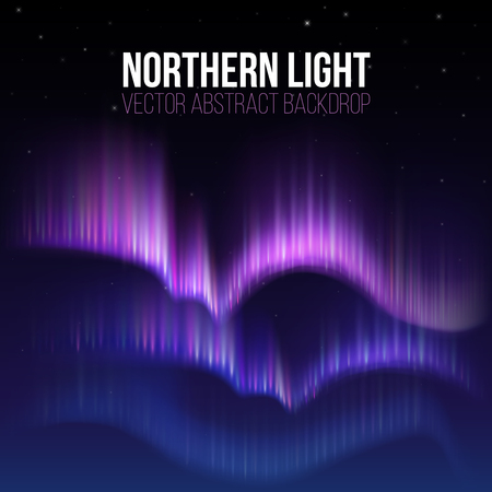 Arctic aurora, northern lights in polaris alaska vector background. Northern lights phenomenon in atmosphere, illustration of arctic colorful lights