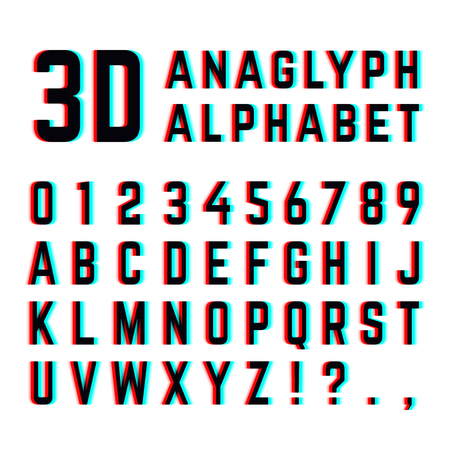anaglyph: Tv distortion 3D effect stereoscopic, anaglyph alphabet and numbers. English alphabet with distortion, illustration of design alphabet with diffuse effect