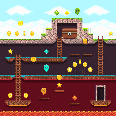 Computer 8 bit pixel video game. Platform and arcade game vector design. Game with layer and stairs illustration Illustration