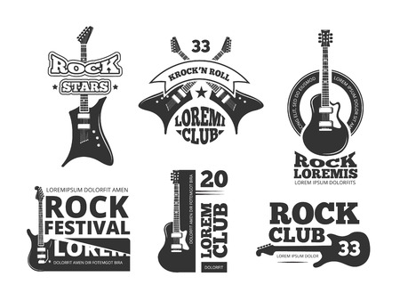 Vintage heavy rock, jazz band, guitar shop, music vector logos and labels set with acoustic guitars. Emblems for rock band or rock festival with electric guitar illustration Stock Vector - 71549767