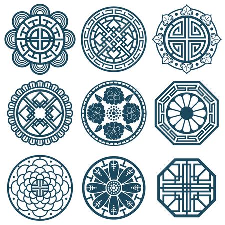 Symboles coréens traditionnels, conception de modèle de vecteur de Corée pour les carreaux de répétition de salle de bain. Illustration de motif coréen traditionnel
