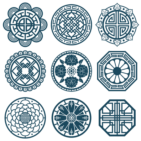 Traditional korean symbols, vector korea pattern design for bathroom repeat tiles. Traditional korean pattern illustration Çizim