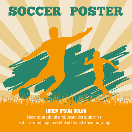 bannière football: Soccer players vector poster template. Illustration of sport football banner Banque d'images