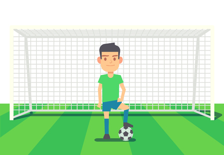 Soccer goalkeeper keeping goal on arena vector illustration. Cartoon goalkeeper with ball Stock Photo