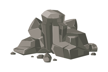 Stones and rocks cartoon vector nature boulder isolated on white background illustration