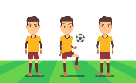 Three soccer players on green field vector illustration. Football team play match Stock Photo