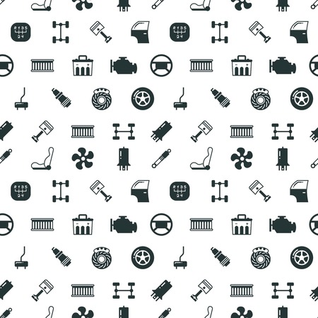 mechanical radiator: Car spare parts vector seamless pattern with automobile spare part spark and steering wheel, illustration of black silhouette car parts
