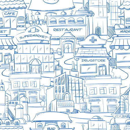 bar scene: City with hand drawn buildings vector doodle urban panorama seamless background. Panorama of street with restaurant and cafe, building of supermarket and drugstore on street illustration