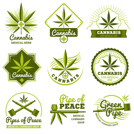 Hashish, rastaman, hemp, cannabis vector logos and labels set. Medicine marijuana and label shop marijuana organic illustration Stock Photo