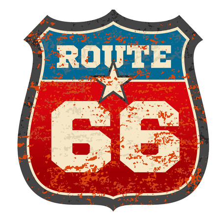 Vintage route 66 road sign with grunge distressed rusted texture vector illustration. Traffic sign route 66, travel road sign Stock Photo