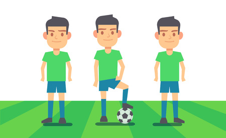 Three soccer players on green field illustration. Sport team player.