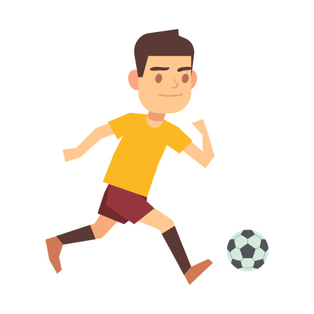 Soccer player running with ball isolated white . Man run with ball illustration.
