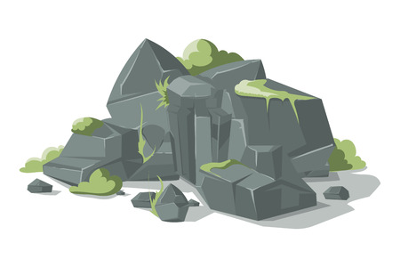 cobble: Grey stones and rocks cartoon nature boulder with grass. Nature geology heap gravel illustration Stock Photo