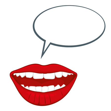 Open womans mouth with speech bubble illustration. Glamour open female month