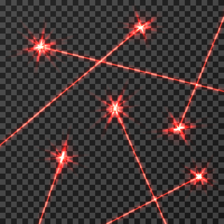 Red laser beams light effect isolated on transparent checkered background. Red light beam neon, illustration of technology beam line effect