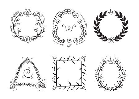 Vintage Rustic Branch Frame Borders, Hand Drawn Vector Set. Branch ...