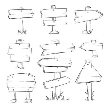 Cartoon doodle road wooden signs set. Wooden sketch banner arrow, illustration of drawing symbol arrow for road set direction
