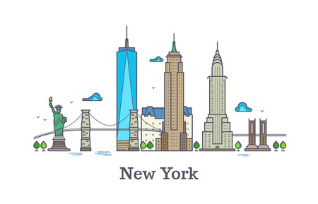 New york line symbol, nyc silhouette outline panorama, america skyline illustration. New york city architecture tower building