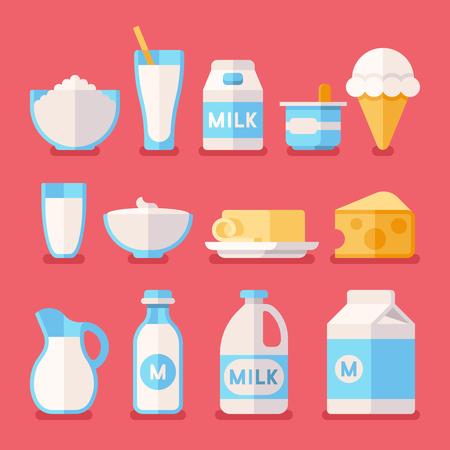 food products: Dairy, milk, yogurt, cream, cheese products flat icons set. Milk product food illustration, fresh farm milk in bottle Stock Photo