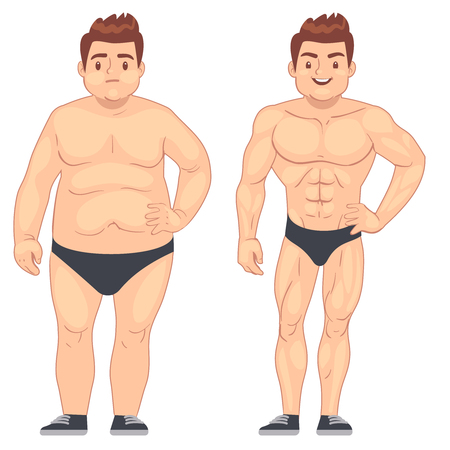 Cartoon muscular and fat man, guy before and after sports. weight loss and diet lifestyle concept. Body male muscle and overweight body illustration Ilustracja
