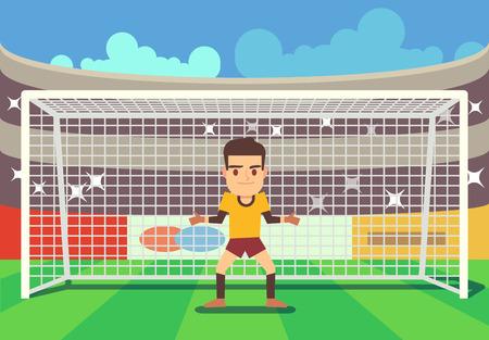 Portero de fútbol mantener objetivo en la arena ilustración vectorial. Jugador de defensa de fútbol