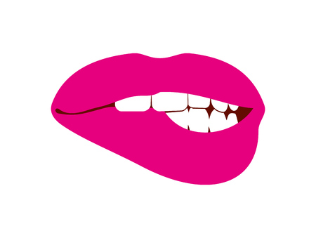 Woman biting her lip vector illustration white. Female mouth sensual