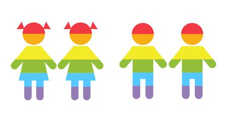 raibow: Gay family LGBT rights raibow icons white. Couple boys and girls illustration Illustration