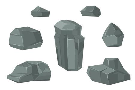 sedimentary: Stones and rocks cartoon vector boulder. Set of stone for web design illustration