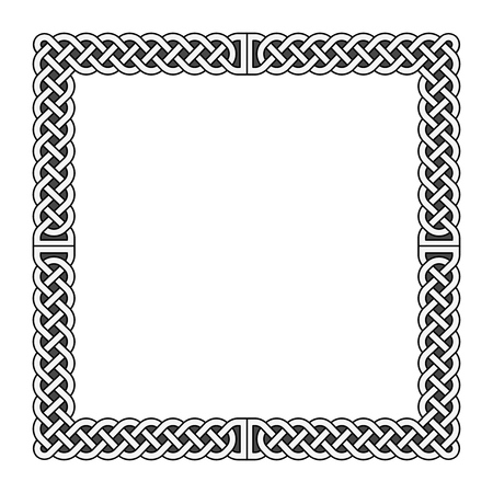english countryside: Celtic knots vector medieval frame in black and white. Decoration frame pattern illustration Illustration