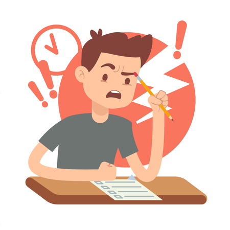 alarmed: Worried, upset teen student on exam. Education and study vector concept. Alarmed by student answers questions in exam illustration