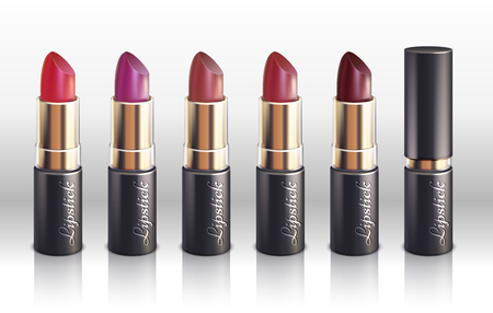 paint container: Glossy color lipstick for woman lips make up vector. Set of lipsticks with spectrum color, illustration of red lipstick
