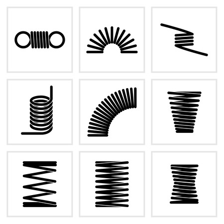 Metalowe spiralne elastyczne drut elastyczne wiosenne ikony wektorowe. Elastyczna sprężynowa spirala, ilustracja sprężyny skręcającej
