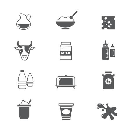 Produits laitiers, icônes vectorielles de lait définies. Illustration de produit laitier sain