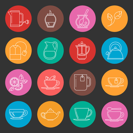 Colorful tea thin line vector icons set. Color tea icon in round illustration Illustration