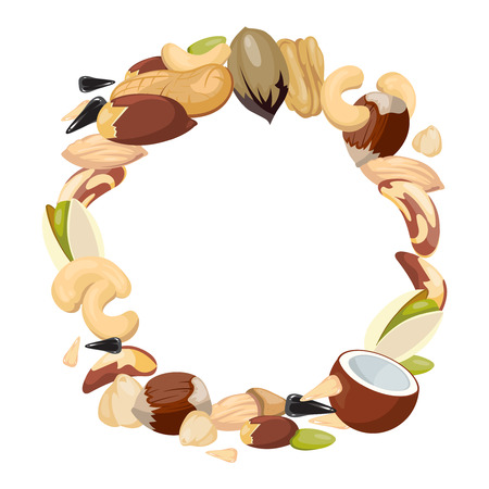 Various nuts blank frame vector illustration. Natural food in round frame