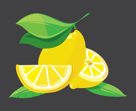 lemon wedge: Bright lemons vector illustration. Bright citrus fresh fruit and nature organic Illustration